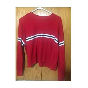 Red long sleeve shirt with blue stripe